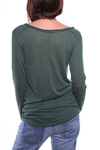 Ella Manue Women Longsleeve Serafino Shirt Camiseta para Mujer Lina Bottle Green
