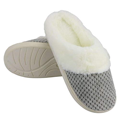 Slippers w Rubber Lined Indoor Memory House Anti Foam Slippers Soft Fur Faux Gray Skid Women's Sole xzqvATOO