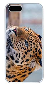 case custom Beautiful Leopard PC White Case for iphone 5/5S