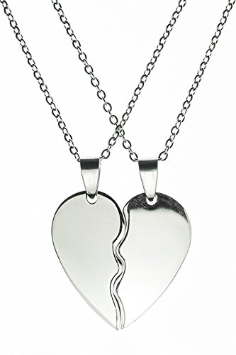 Two Pieces Heart - Handmade Steel Pendant Double Necklace by Beautifly with a 16-inch Chain