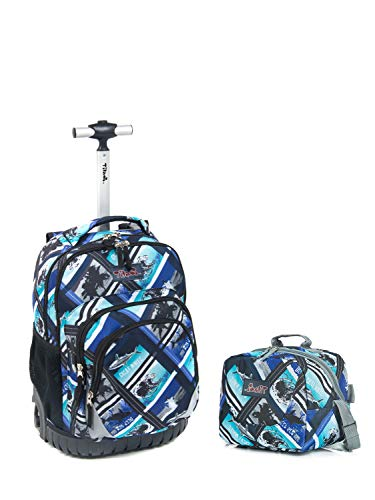 Tilami New Antifouling Design 18 Inch Wheeled Rolling Backpack Luggage and Lunch Bag (Pink Pilot series 2) ()