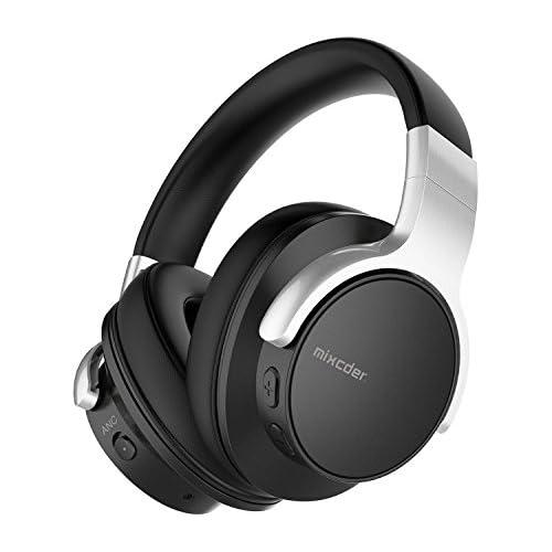 chollos oferta descuentos barato Mixcder E7 Active Cancelación de Ruido Auriculares Bluetooth con Micrófono Hi Fi Deep Bass Auriculares Inalámbricos sobre el Oído Cómodo Protein Earpads para PC Teléfonos Celulares TV Negro
