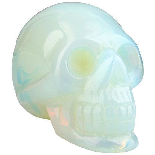 rockcloud Healing Crystal Stone Human Reiki Skull Figurine Statue Sculptures Opal Opalite 3