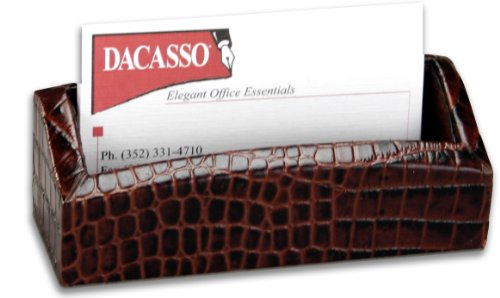 Crocodile Desk (Dacasso Brown Crocodile Embossed Leather Business Card Holder)