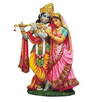 Ebros Vedic Radha And Krishna Statue 8Tall Avatar Of Vishnu And Shakti Gods Divine Love In Male And Female Aspects by Ebros Gift