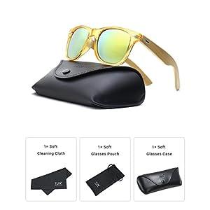 TIJN Bamboo Wood Temple Color Lens Wayfarer Sunglasses