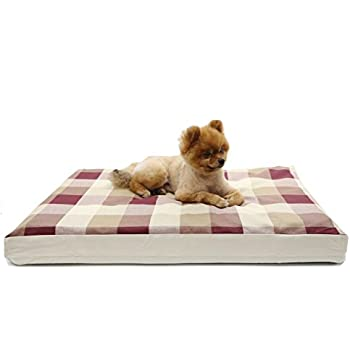 """Evolive Dog bed cover replacement with zip closure Plaid Pattern (27""""x36""""x3"""", Red Plaid)"""