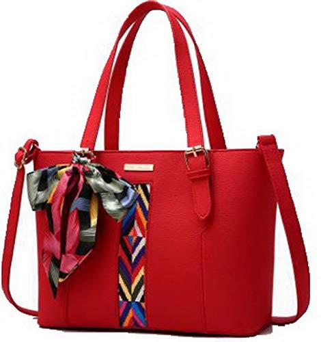 FBUIBC181786 cerniere a Dacron AllhqFashion tracolla Shopping Moda Rosso Nero Borse Donna 8qxfS