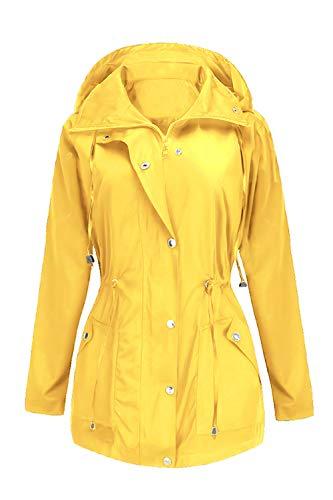 (BBX Lephsnt Waterproof Lightweight Rain Jacket Active Outdoor Hooded Raincoat for Women Yellow)