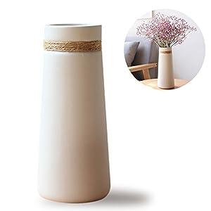 HaloVa Ceramic Vases, Modern Elegant Decorative Flower Vase for Home Decor Living Room and Office, Taper White