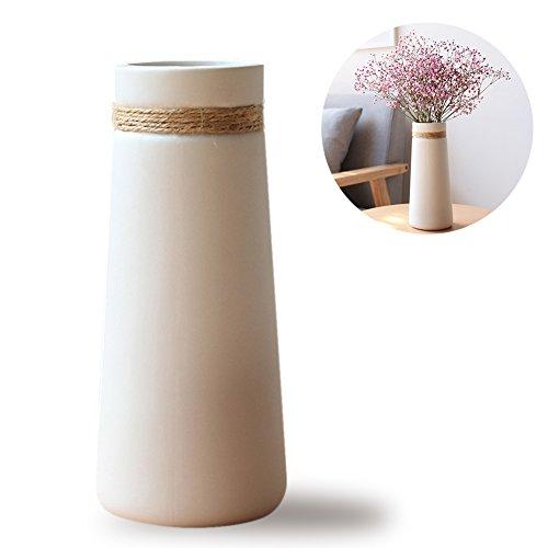 HaloVa Ceramic Vases Modern Elegant Decorative Flower Vase for Home Decor Living Room and Office Taper White