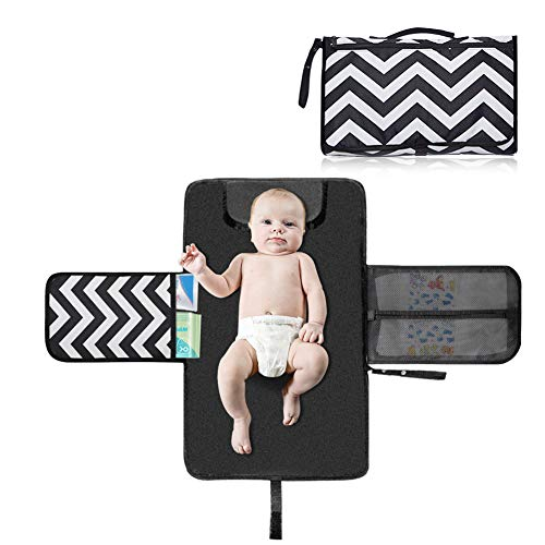 Portable Diaper Changing Pad – Baby Changing Station Mat – Waterproof & Foldable Lightweight Travel Diaper Kit with Head Cushion Perfect for Toddlers, Infants or Newborns