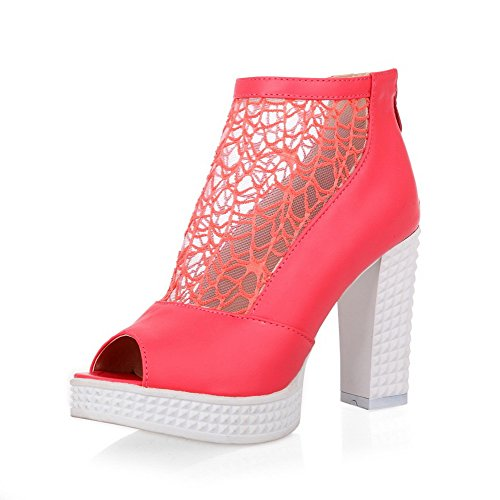 High Pu Women's WeenFashion Heels Peep Zipper Solid Red Sandals Toe wqg7n1