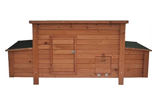 """ChickenCoopOutlet 71"""" Deluxe Large Solid Wood Chicken Coop Hen House with 4 Nesting Boxes for 6-10 Chickens!"""
