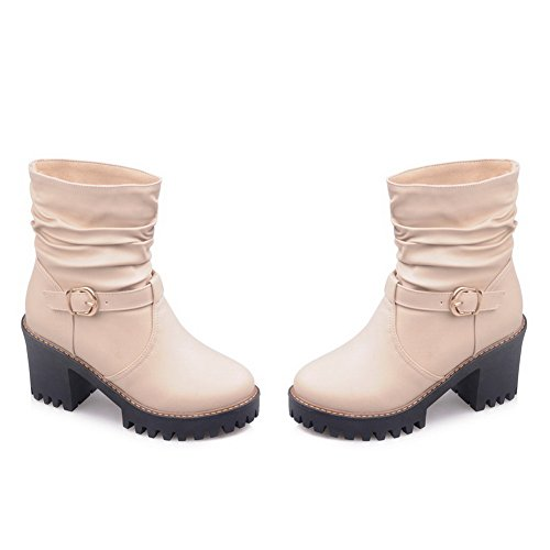 Heel Beige Imitated Leather AdeeSu Shoes Buckle Ladies Round Wheeled Boots Toe BBqZt