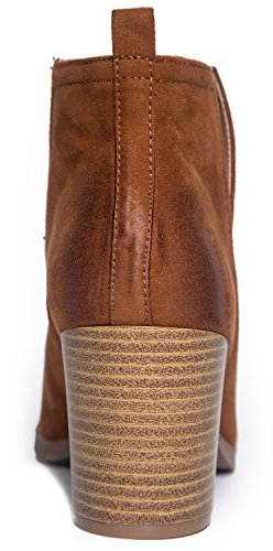 J. Adams Western Slip On Stacked Heel Bootie - Side V-Cut Boot - Distressed Leather Low Heel - Barry by Chestnut Pu 8hg8PG7ijj
