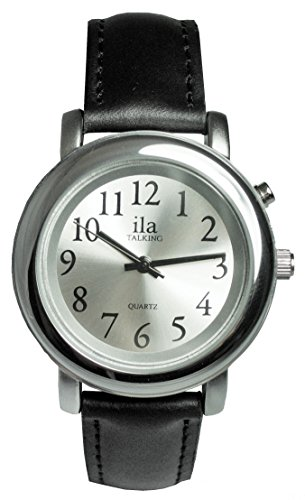 ILA Ladies Silver Tone Talking Watch Silver Face Choice of Voice-Leather