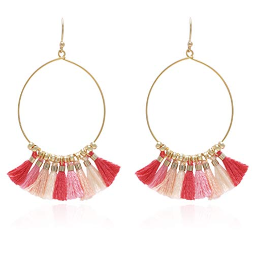 Bohemian Handmade Multi Color Tassel with Yellow Gold Plated Dangle Drop Statement Earrings