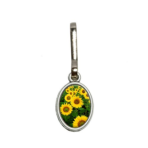 Field of Sunflowers Antiqued Oval Charm Clothes Purse Luggage Backpack Zipper Pull
