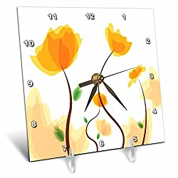 3dRose dc_153037_1 Cute Papery Poppy Flowers in Yellow-Desk Clock, 6 by 6-Inch