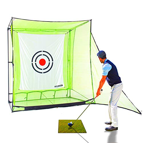 Galileo Golf Net Hitting Cage Practice Driving Net High Impact Double Back Stop with Target Training Aid for Backyard ()