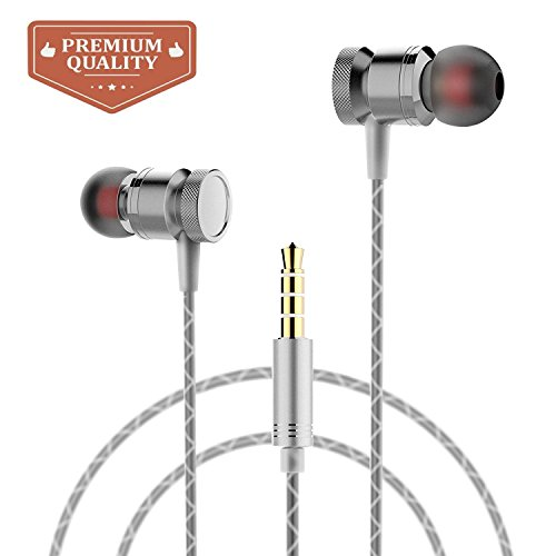 Ectreme Wired Metal In Ear Headphones, Noise Isolating Stereo Bass Earphones With Mic (Gray)