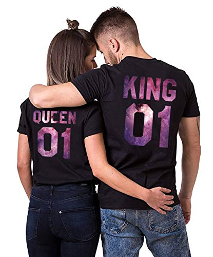 Double Fashion T-Shirt King Queen Pair Set 2 Matching Couple Valentine Birthday Wedding (Sky-Black, King-M+Queen-S)