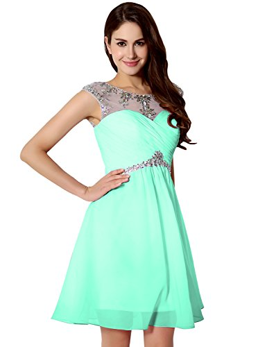 Sarahbridal Women's A-line Ruched Short Beaded Prom Party Dresses SSD218...