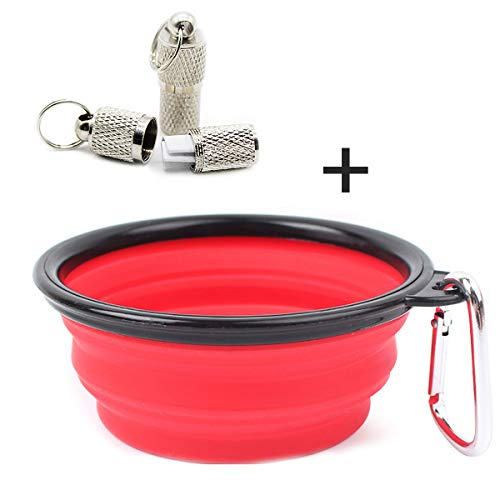 OPII Collapsible Silicone Dog Bowl Indoor, Outdoor Food and Water Use | Portable, Travel-Friendly Design | Walks, Travel, Hiking, Car Trips with 2 Pet ID Tags Review