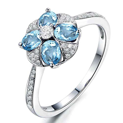 MoAndy Rings for Her Sterling Silver Rings Pear Cut Blue Topaz Created Diamond Rings for Women Size 10 - Silver Pear Place Card Holders