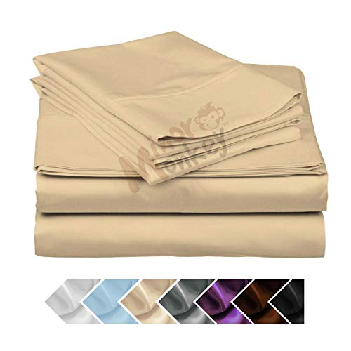 Minor Monkey Egyptian Cotton 1000 Thread Count 4 PC Solid Bed Sheet Set True Luxury Hotel Collection Fits Up to 17 Inches Deep Pocket (Cal-King, Ivory) (Best Brands Of Bedsheets In India)