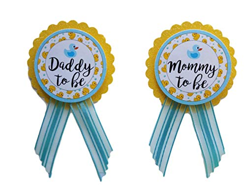 Mommy & Daddy to Be Pin Duck Baby Shower Yellow & Blue It's a Boy, Baby Sprinkle Gender -