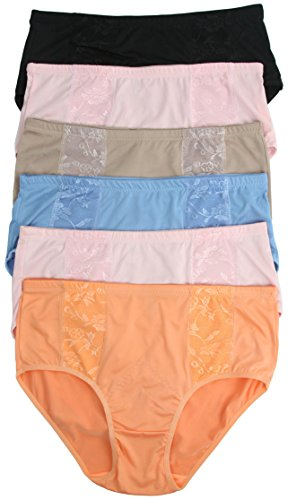 ToBeInStyle Womens Pack of 6 Front Side Floral Mesh Nylon Briefs - 4X