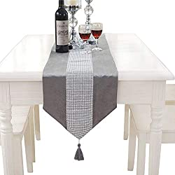 Hangnuo Wedding Elegant Tassel Sequined Rhinestone Contracted Classic Table Runner 13*83inch Silver Grey