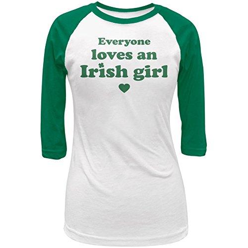 St. Patricks Day Everyone Loves an Irish Girl Juniors 3/4 Sleeve Raglan T-Shirt - ()