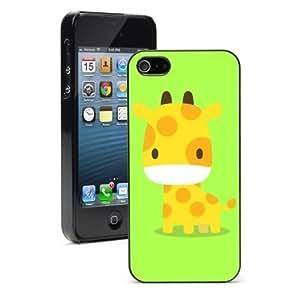 For iPhone 4 4S Hard Case Cover Cartoon Giraffe on Green -01