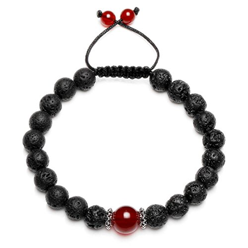 CrystalTears 7 Chakra Lava Stone Diffuser Bracelet, Aromatherapy Essential Oils,Meditation,Healing Crystal Red Agate