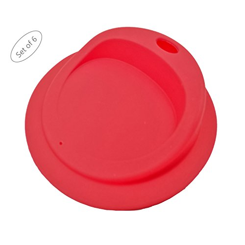 Reusable Drinking Sip Lids, Food Grade Silicone, BPA FREE for Mason, Ball, Canning Jars (Red, Wide Mouth with OVAL drinking hole, 6pack)