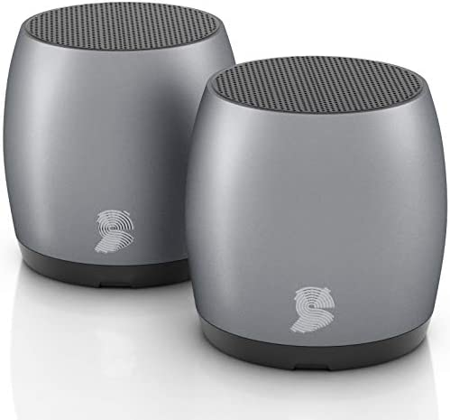 [2 Pack] HeadSound G2 Portable Wireless Bluetooth Speakers, Latest Powerful Dual True Wireless Mini Speaker Set w/Surround HD Sound, Instant Pairing w/Built in Mic, HandsFree Calls for Home, Office