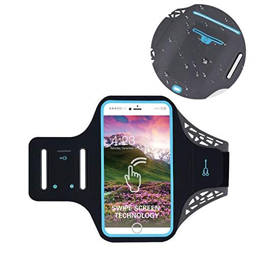 Fingerprint Neoprene Cellphone Gym Armband Case with Card Slot Compatible LG G7 / V35 / V40 / V30S ThinQ/Stylo 4 / Google Pixel 3 XL/OnePlus 6T / 6 / Alcatel 5V / 3X / Nokia 6.1 Plus