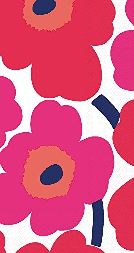 Ideal Home Range 32 Count 3-Ply Paper Guest Towel Napkins, Marimekko Collection (Unikko Red) 3 Ply Guest Napkin