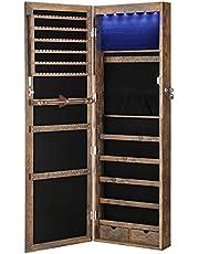 SONGMICS Smyckesskåp Armoire, låsbar väggmonterad förvaringsenhet för halsband örhänge
