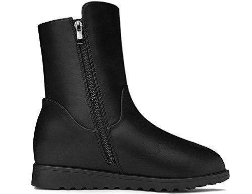 MOLECOLE Womens Short Closure Zipper Boots Black Lined Fashion Fur PPf4wxqrT
