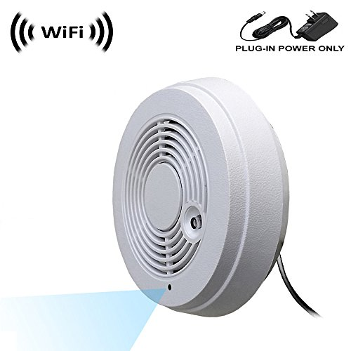 WF-402V Spy Camera with WiFi Digital IP Signal, Recording & Remote Internet Access, Camera Hidden in a Fake Smoke Detector.