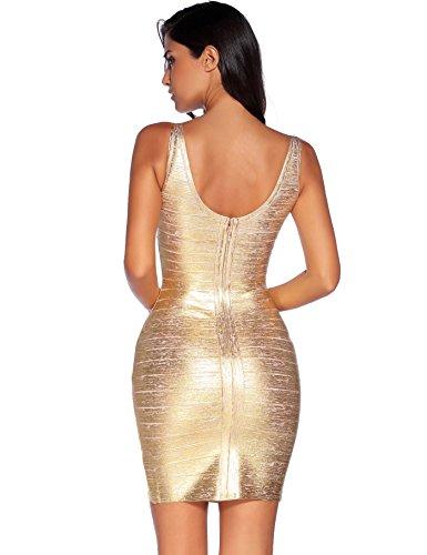 Bodycon Rayon Dress Meilun neck Bandage Sexy V Foil Strap Women's Gold Club 5AqxvYqB