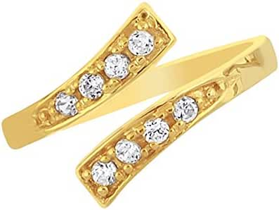 10K Yellow Gold Crossover Shiny CZ Cubic Zirconia Toe Ring Body Art Adjustable