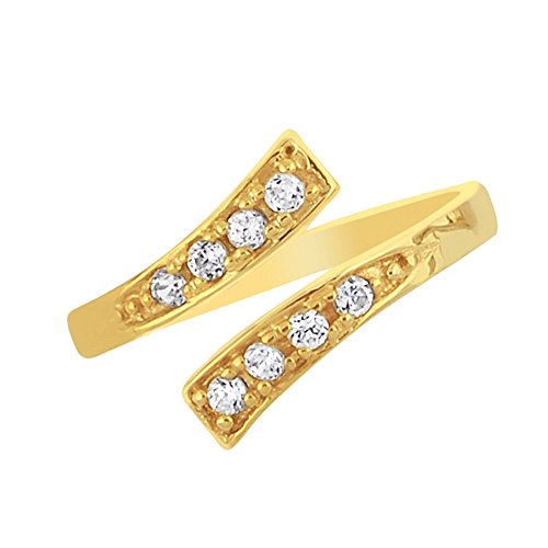 Ritastephens 10K Yellow Gold Crossover Shiny CZ Cubic Zirconia Toe Ring or Ring Adjustable
