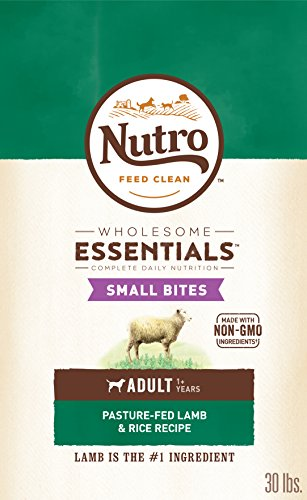 Bites Dry Food - NUTRO WHOLESOME ESSENTIALS Natural Adult Dry Dog Food Small Bites Pasture-Fed Lamb & Rice Recipe, 30 lb. Bag