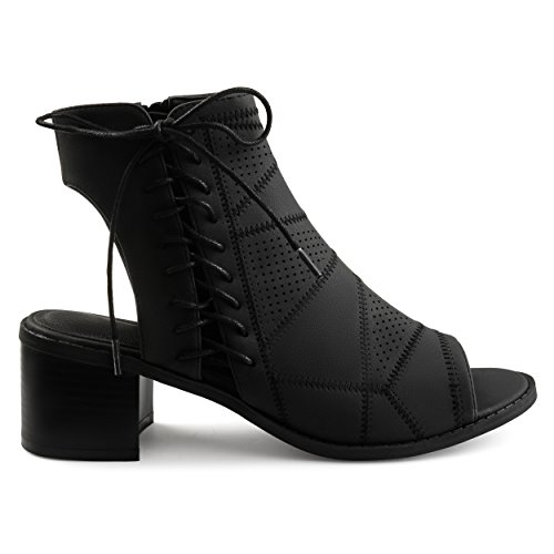 Brinley Co. Womens Elva Faux Leather Side Lace-up Perforated Cut-Out Heel Booties Black, 11 Regular US