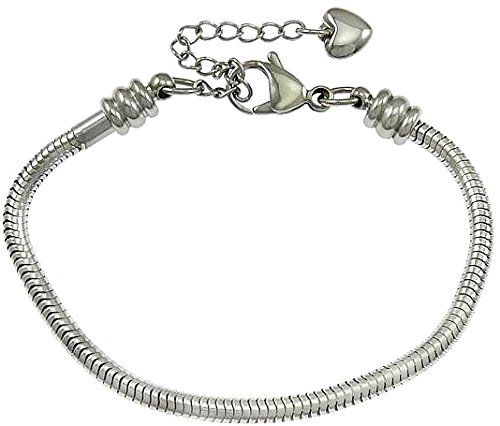 """Pro Jewelry Stainless Steel Starter Charm Bracelet """" Screw End to Add Charms """" Available All Size Used Drop Down Menu! (8  inch)"""